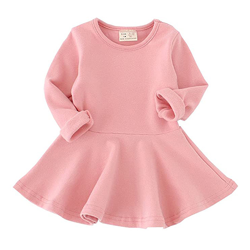 Csbks Toddler Baby Girls Long Sleeve Cotton Dress