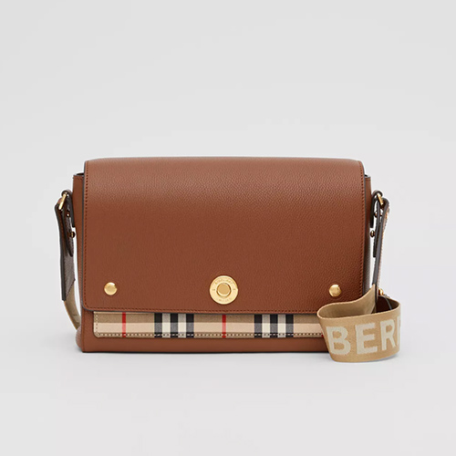 Leather and Vintage Check Note Crossbody Bag
