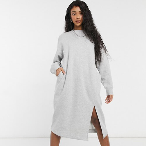 Monki Coba Organic Cotton Knitted Midi Sweat Dress